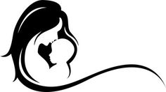 Mother and Baby Silhouette   Illustration: silhouette of mother and baby symbol