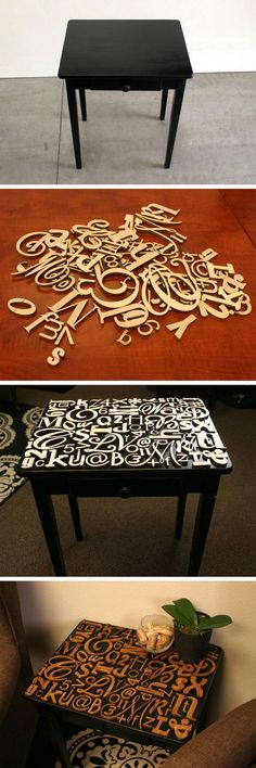 Amazing lettered tabletop Put on top of toybox with child's name then put random letters around name. Use thinner low profile letters. Use envirotex to fill gaps and make the top smooth/flush.