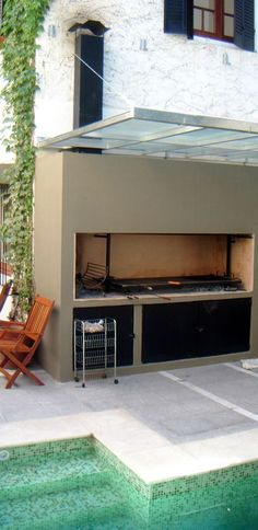 Pergola Front Of House Barbecue Design, House, Outdoor Entertaining Area, Custom Pools, Outdoor Living, Brick Patios, Patio Bar, Outdoor Cooking, Outdoor Kitchen