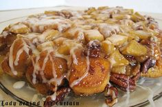 Upside Down Cinnamon Apple Coffee Cake.  Fast & easy made with a can of cinnamon rolls, sliced apples and pecans.