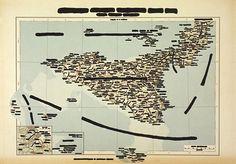 Emilio Isgro, Sicilia, 40x52cm, encre de chine sur carte géographique, carta cancellata, 1970