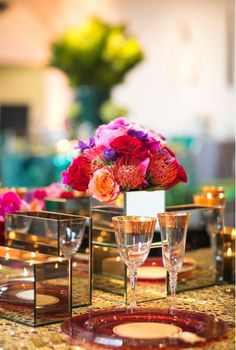 Moroccan inspired table setting, love the flowers.  Thanks to @Viburnum Princeton & MK Photo.  The Say 'I Do' Wedding Show had great reception ideas!
