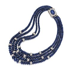 SAPPHIRE AND DIAMOND BEAD NECKLACE, DAVID WEBB The four-strand necklace composed of numerous sapphire beads graduating from approximately 10.5 to 3.1 mm., enhanced with 18 rondelles set with numerous small round diamonds weighing approximately 11.50 carats, completed by a rectangular clasp centering an oval cabochon sapphire weighing approximately 8.30 carats, framed by additional round diamonds weighing approximately 2.00 carats, mounted in platinum and 18 karat white gold, signed Webb.