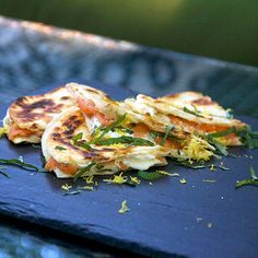 smoked salmon and goat cheese quesadillas with lemon and basil