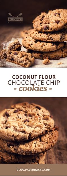 If you're a fan of gooey, chewy cookies then you're going to absolutely love this recipe for Paleo coconut flour chocolate chip cookies! For the full recipe visit us at: Desserts Keto, Healthy Sweets, Gluten Free Desserts, Healthy Baking, Coconut Flour Cookies, Baking With Coconut Flour, Coconut Flour Recipes, Coconut Oil, Coconut Flour Biscuits
