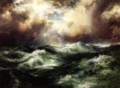 Moonlit Seascape, Thomas Moran. American Hudson River School Painter, born in English (1837 - 1926). Via: Galakospeculoos: Photo