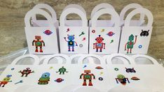 Your place to buy and sell all things handmade Birthday Tree, Boy Birthday, Party Favours, Birthday Party Favors, 5 Gifts, Small Gifts, Favour Boxes, Robot Clipart, A Table