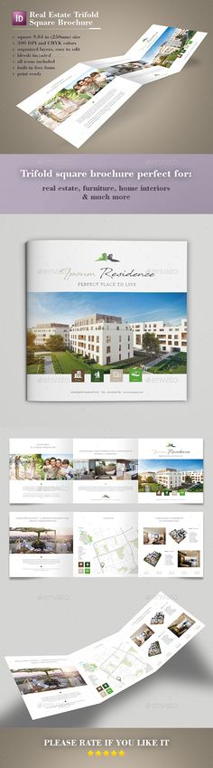 Real Estate Trifold Square Brochure - Brochures Print Templates