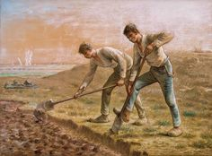 Jean-François Millet - Two Men Turning over the Soil  1866