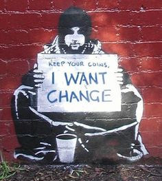 By Banksy. Banksy (unknown identity) is famous for his street art on social or political issues. He combines graffiti and stenciling techniques to portray satirical, yet dark ideas. Banksy Graffiti, Street Art Banksy, Banksy Posters, Graffiti Artwork, Bansky, Banksy Canvas, Banksy Quotes, Banksy Prints, Stencil Graffiti
