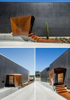 At the side of the house is a path that leads to the front door, that's somewhat hidden underneath a cover of weathered steel. #HouseEntry #FrontDoor #Architecture