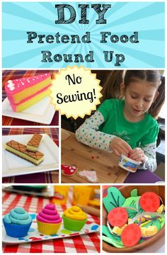 DIY Pretend Food Round Up. also has links for felt pasta and cardboard gingerbread. So much fun! Perfect for that DIY play kitchen and grill!DIY Pretend Food Round Up Use play to teach words/concepts/phrases. Allow your child to play out issues that Projects For Kids, Diy For Kids, Gifts For Kids, Kids Crafts, Food Crafts, Decor Crafts, Diy Projects, Pretend Food, Pretend Play