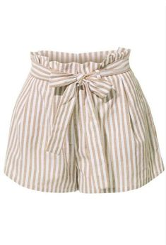 These breathable linen high waisted striped shorts with belt are so on trend! The clean, sophisticated cut on these shorts with Short Outfits, Summer Outfits, Girl Outfits, Fashion Outfits, Emo Outfits, Punk Fashion, Lolita Fashion, Cute Shorts, Striped Shorts