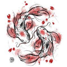 Japanese Koi Duvet Cover by Daisyart_lab - Queen: x Koi Fish Drawing, Fish Drawings, Art Drawings, Japanese Drawings, Japanese Artwork, Japanese Dragon Tattoos, Japanese Tattoo Art, Koi Art, Fish Art