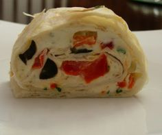 Red Pepper & Black Olive Cream Cheese Pinwheel Wraps (cut small for appetizer or big for main)