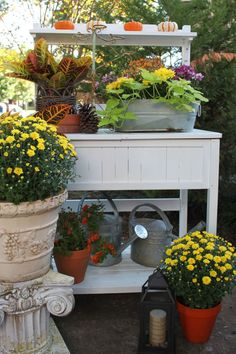 potting bench, decorated for fall