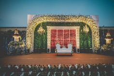 Bride Charita believes destiny led her to Akhilesh. Their love story will make you believe in fairy tales coming true. Marriage Decoration, Wedding Stage Decorations, Engagement Decorations, Backdrop Decorations, Backdrops, Backdrop Ideas, Wedding Mandap, Wedding Ceremony, Wedding Venues