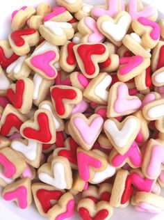 Mini Heart Cookies; how about a handful in cute cello bags with a handmade card and frilly ribbon, Simple, cute and inexpensive.