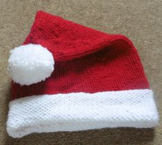 Hand Knitted Child's Santa Hat-Christmas Hat-Toddler Santa Hat-Holiday Hat-Red PomPom Hat- Children's Knitwear-Hand Knitted In Scotland by ScottishKnitwear on Etsy