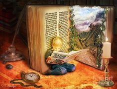 The Book of Magic © Eugene JAMES (Artist. Birmingham, UK).  Digital Art, Photomanipulation. Prints available at  link ...   Promote the Arts. Give credit where due. Pin from the Primary Source. Don't separate artists' names from their art.
