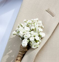 Dried Babys Breath and twine boutonniere - grooms men wedding - woodland wedding - button hole - lapel pin