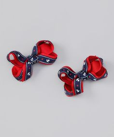 Love this Bubbly Bows Navy & Red Nautical Bow Clip Set by Bubbly Bows on #zulily! #zulilyfinds