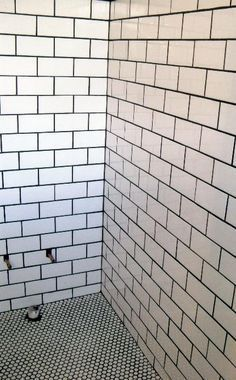 Penny Tile Shower Floor With Subway Tiles Tile Walk In Shower Penny Round Tile Floor Bathroom Flooring