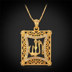 Allah Pendant Vintage Jewelry Gift For Women/Men Classic 18K Real Gold Plated Rhinestone Islamic Pendant Necklace Wholesale