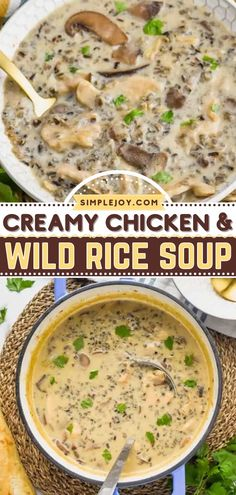 There's so much to love about this Creamy Chicken and Wild Rice Soup! Healthy and full of flavor, this easy soup recipe makes a hearty and filling dinner. Plus, even kids will love a bowl of this comfort food! Easy Soup Recipes, Easy Dinner Recipes, Great Recipes, Recipe Ideas, Chicken Wild Rice Soup, Creamy Chicken, Cooking Wild Rice, Chicken Slices, Dumplings For Soup