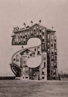 Only a, B, C, and D, but these hand-assembled collages by Lola Dupre of building-letters are amazing.