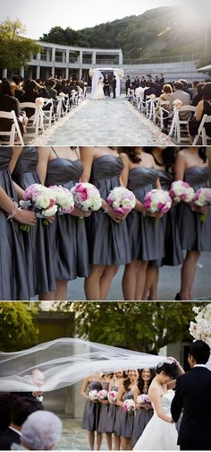 grey bridesmaids dresses with fuchsia and white flowers