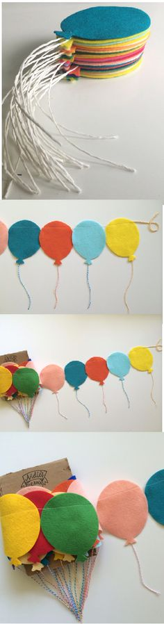 The best DIY projects & DIY ideas and tutorials: sewing, paper craft, DIY. Diy Crafts Ideas balloon garland (pictures for inspiration) -Read Felt Crafts, Diy And Crafts, Crafts For Kids, Arts And Crafts, Paper Crafts, Felt Diy, Handmade Felt, Balloon Pictures, Balloon Ideas