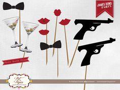 James Bond Photo Booth printables by PretaPapier on Etsy, $25.00