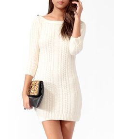 Essential Cable Knit Sweater Dress   FOREVER21
