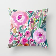 Pink+Pow+Wow+Floral+Throw+Pillow+by+Barbarian+/+Barbra+Ignatiev+-+$20.00