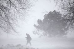 A pedestrian walks along the shore line of Lake Michigan Wednesday, Feb. 2, 2011 in Chicago. A winter blizzard of historic proportions