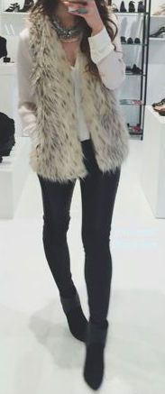 #fall #outfits / faux fur vest