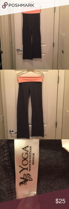 VS yoga pants, bright orange top & gray pants - M Gently used Victoria's Secret yoga pants with bright orange top and gray pants. Super comfy and sadly no longer fit me. Grab these awesome pants for your fall yoga needs!! Victoria's Secret Pants Track Pants & Joggers