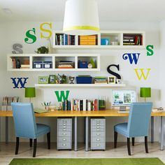 double desks - love the wall cubbies