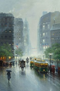 G. (GERALD HARVEY JONES) HARVEY (American, b. 1933). Showers on Broadway, 1992. Oil on canvas.