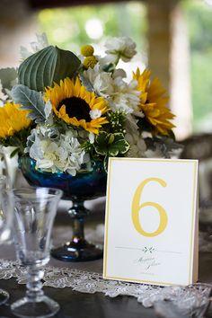 Blue & yellow for a summer weddings #weddings #summerweddings #tablenumbers #blisschicago