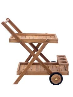 Teak Outdoor Rolling Cart | Modern Furniture • Brickell Collection