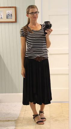 striped shirt, midi skirt, brown belt - nerdy chic