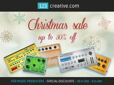 FOR MUSIC PRODUCERS: 123creative.com has launched Christmas Sale 2014 with special discounts up to 50% off for selected VST Plug-ins, Synthesizers, Guitar effects, Mastering effects, Preset banks, Sample packs, MIDI files and more... http://www.123creative.com/135-electronic-music-production-gear