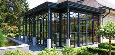 Wohnwintergarten Flachdach Glaskuppel dünne Profile