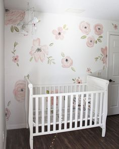 Hand painted accent wall for nursery! Floral nursery, pink peonies.