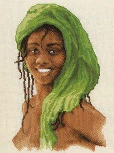 0 point de croix femme africaine - cross stitch african girl