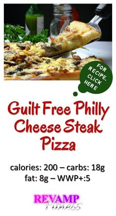 Enjoy our easy recipe for Guilt Free Philly Cheese Steak Pizza | Visit revampfitness.com for the best weight loss, fitness tips, quick and easy skinny recipes, to live the most healthy and slim life!