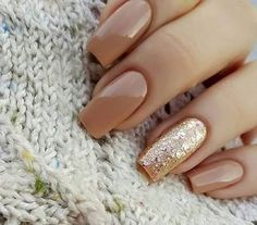 Cute camel nude nails with gold detail