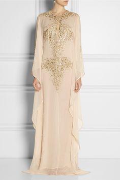 KAUFMANFRANCO|Embellished silk-chiffon kaftan-style gown|NET-A-PORTER.COM
